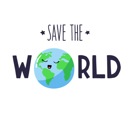 Cartoon planet Earth with letters. Vector template with inscription Save the world. Illustration