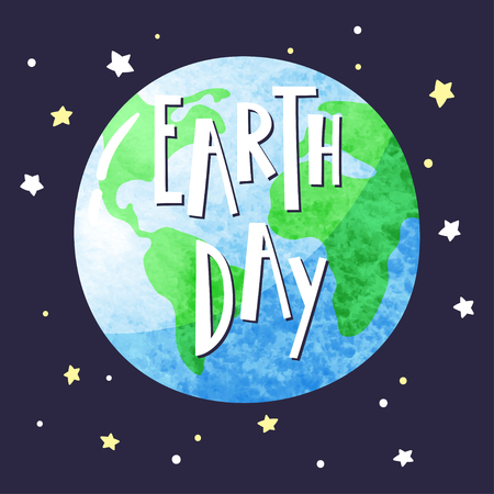 Planet Earth in the dark starry sky and hand-drawn inscription Earth Day. Vector template eps 10.
