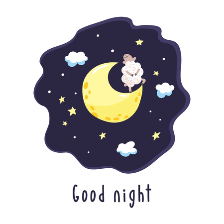 Sky background with cartoon lamb on the crescent. Vector illustration with cute dreaming lamb and inscription Good night. Illustration