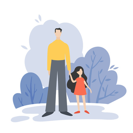 Father and doughter walking in summer park outside, family leisure. Vector flat illustration.