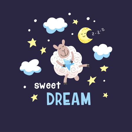 Dark night background with cute cartoon lamb, moon and clouds. Childish poster. Vector illustration with cute sheep and inscription Sweet dream.