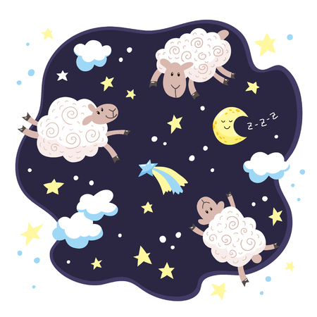 Cartoon cute lambs, clouds, stars and moon. Good night kids background.