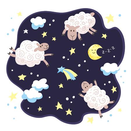 Dibujos animados lindos corderos, nubes, estrellas y luna. Fondo de buenas noches para niños.