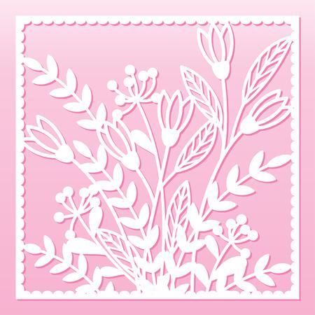 Durchbrochene Blumenkarte. Laserschneidschablone. Design für Umschlag, Menü, Cover, festliche Einladung oder dekoratives Innenelement. Vektorgrafik