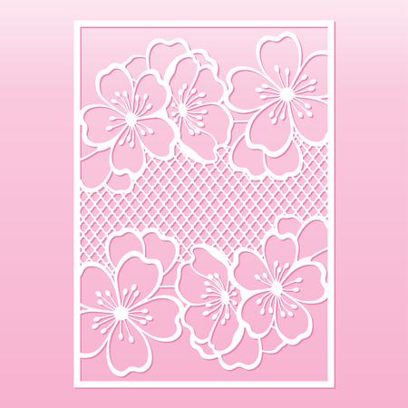 Kirsch- oder Sakura-Zweigblüten. Laserschneidschablone geeignet für Grußkarten, Einladungen, Cover, Menüs, Innendekoration. Vektorgrafik