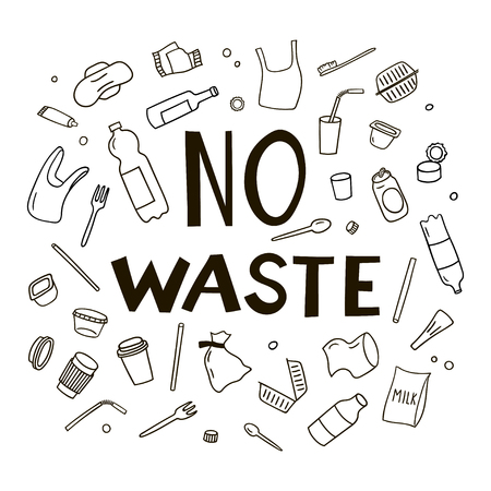 Set of elements of waste in doodle style. Black and white vector clipart.  イラスト・ベクター素材
