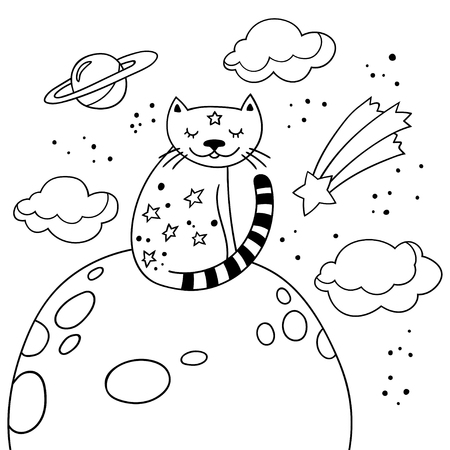 Cartoon cat sitting on the moon. Childish poster. Black and white vector illustration with cute kitty and starry night.
