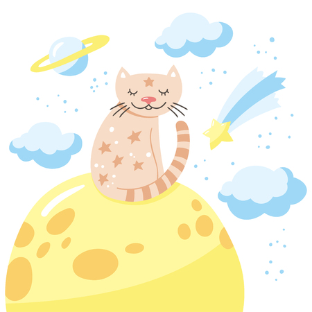 Cartoon cat sitting on the moon. Childish poster. Vector illustration with cute kitty and cloudy sky.