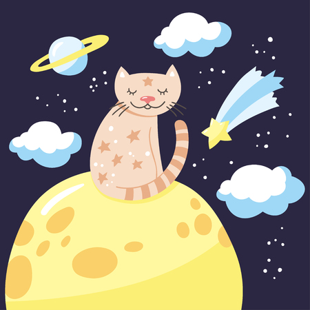 Cartoon cat sitting on the moon. Childish poster. Vector illustration with cute kitty and night sky.
