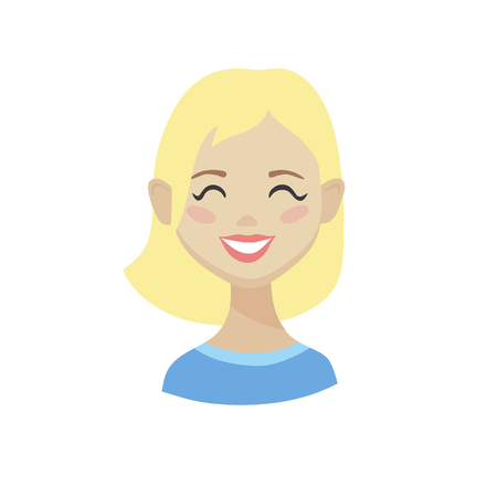 Cute cartoon Emoji character. Flat vector illustration of girl's emotional face. Isolated smiling blonde woman avatar.