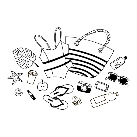 Hand drawn summer set of objects. Artistic doddle drawing. Creative line art work.