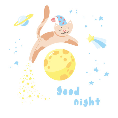 Cartoon cat flying in the sky. Childish poster. Vector illustration with cute kitty and starry night. 向量圖像