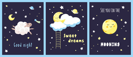 Set of night cards with cute cartoon characters and inscriptions in the starry sky. Vector template.