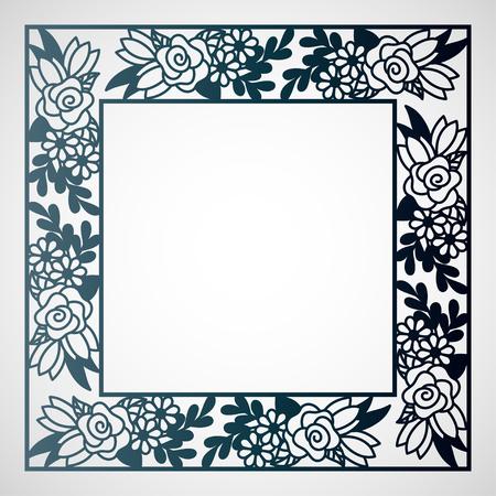 Durchbrochener quadratischer Rahmen mit Blumenmuster. Laserschneidschablone für Grußkarten, Umschläge, Hochzeitseinladungen.