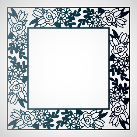 Openwork square frame with floral pattern. Laser cutting template for greeting cards, envelopes, wedding invitations.
