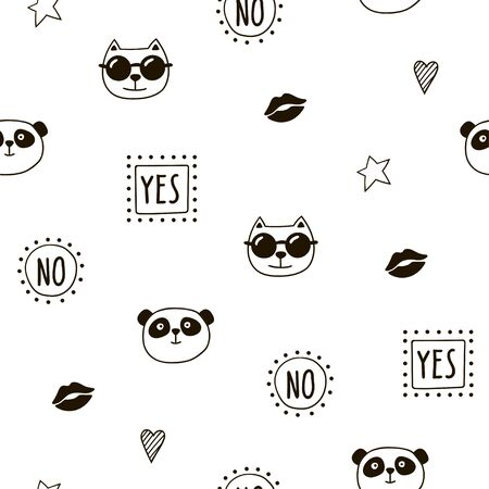 Seamless pattern with cute animals and objects. Black and white vector background.