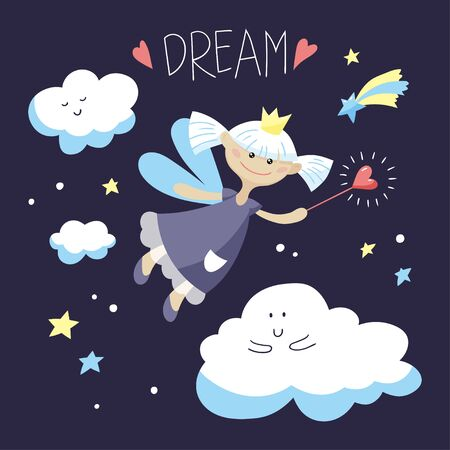 Cute fairy girl with a magic wand. Vector cartoon illustration.