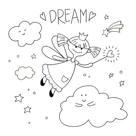Cute fairy girl with a magic wand. Vector cartoon illustration. Black and white coloring.