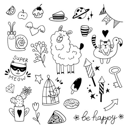 Set of cute childish doodles. Black and white vector clipart. 向量圖像