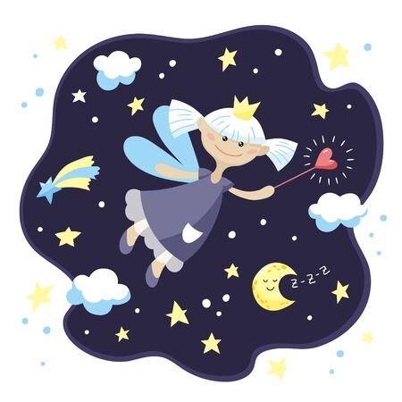 Cute fairy girl with a magic wand in the night sky. Vector cartoon illustration.