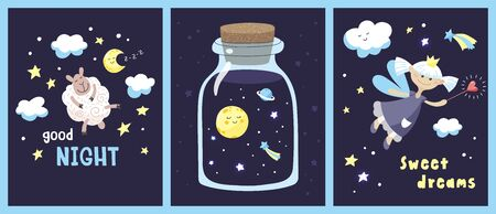 Set of cards with cute cartoon characters and inscriptions in the starry night sky. Vector template.