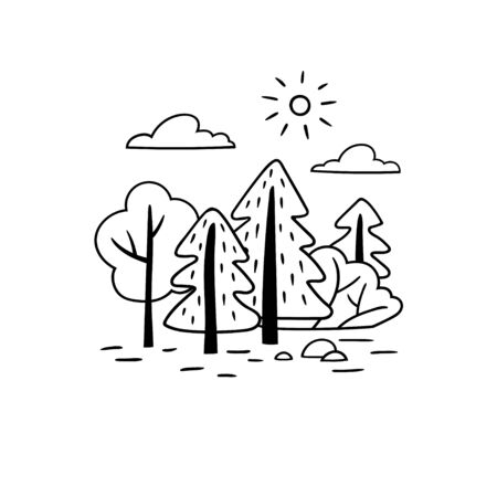 Minimalistic black and white landscape. Trees and bushes in a hand drawn style. Vector template.