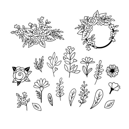 Set of floristic doodles. Hand-drawn flowers, leaves and twigs. Black and white vector clipart. 向量圖像