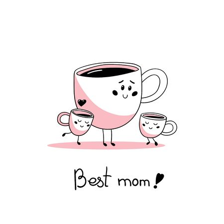Cute cartoon family of cups of coffee. Mom and children. Vector illustration in hand drawn style.