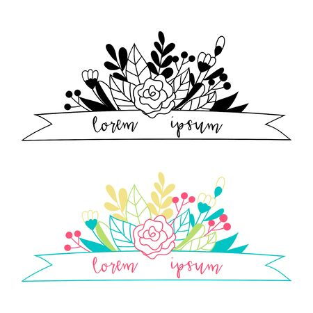 Floral composition of doodle flowers and ribbon. Space for inscription. Vector template suitable for greeting card. 向量圖像