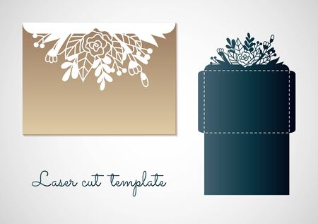 Blueprint of the envelope with flowers. Laser cutting template for envelopes and invitations. 向量圖像