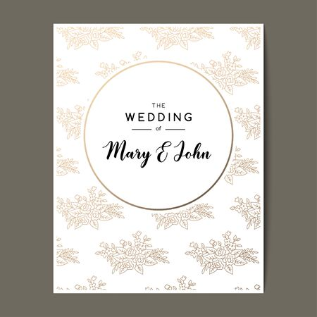 Elegant wedding invitation background with floral elements and space for text. Vector greeting card design with golden pattern.