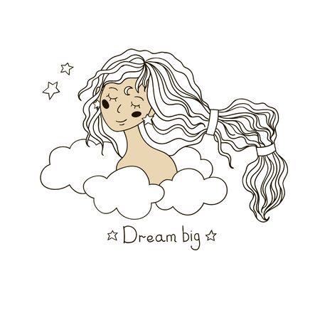 Cute dreamy girl with long hair among the clouds. Vector portrait in hand drawn style. 向量圖像