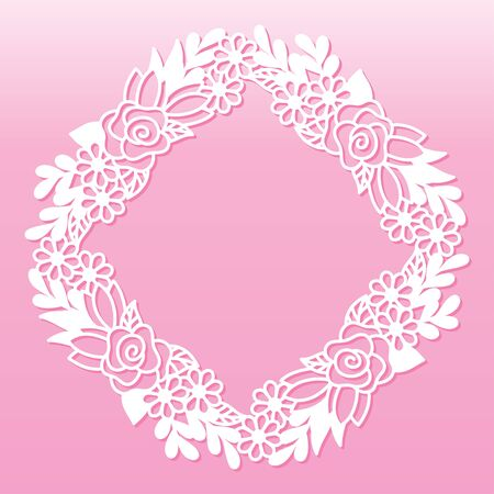 Openwork frame with rose and wildflowers. Laser cutting template suitable for decorations, cards, interior decorative elements.