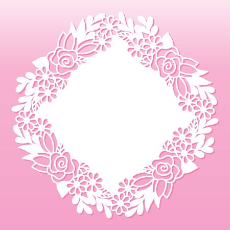 Openwork decoration with rose and wildflowers. Laser cutting template suitable for decorations, cards, interior decorative elements. 向量圖像