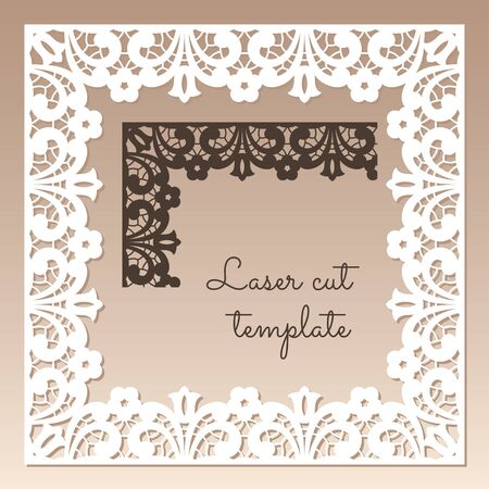 Openwork square frame with floral ethnic pattern. Laser cutting template for greeting cards, envelopes, wedding invitations. 向量圖像