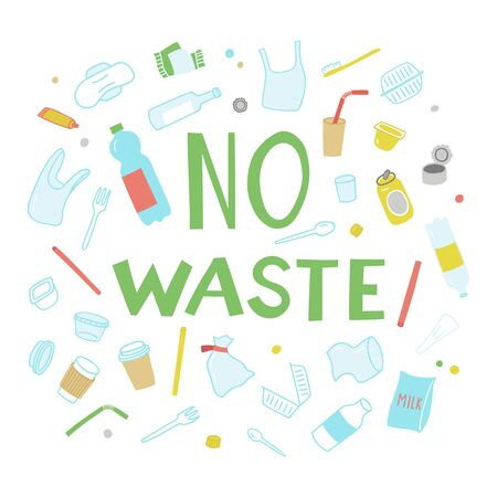 Set of elements of waste in doodle style. Hand-drawn vector clipart. 向量圖像