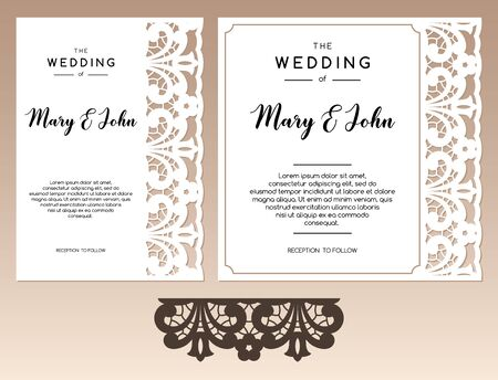 Set of two cards with openwork ethnic border and space for text. Laser cutting templates for greeting cards, envelopes, invitations, interior decorative elements.