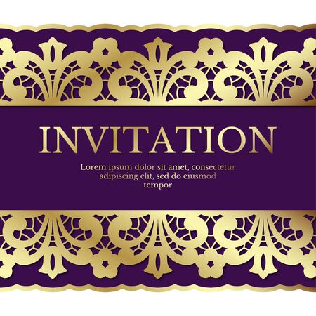 Background with gold lace ornament and area for text. Elegant card design suitable for wedding invitations, greeting cards or gift certificates. Vector.
