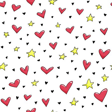 Seamless pattern with cute smiled hearts and stars. Vector background.