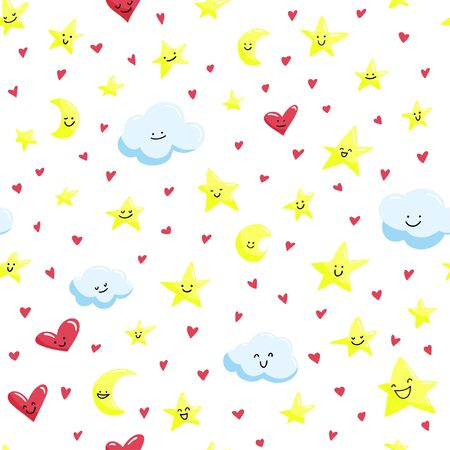 Seamless pattern with cute smiled stars, clouds and crescents. Vector background.