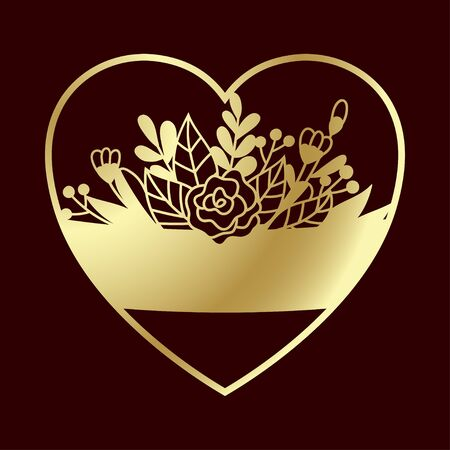 Openwork golden heart with tender flowers. Laser cutting template suitable for decorations, cards, interior decorative elements.