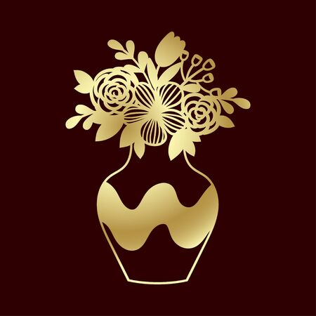 Openwork golden bouquet of wildflowers in vase. Template for laser cutting, engraving or plotter.