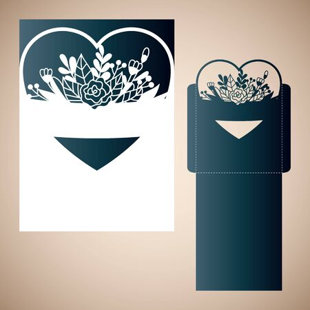 Openwork heart with tender flowers. Vector Laser cutting template for an envelope.
