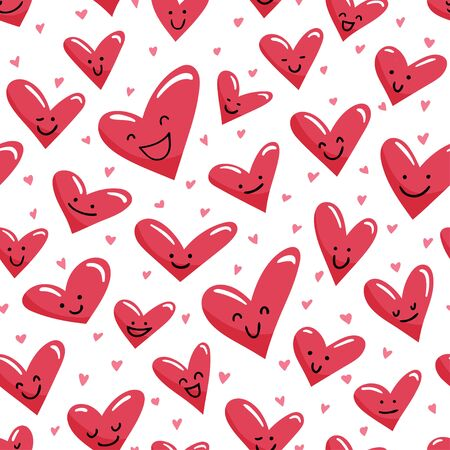 Seamless pattern with cute cartoon smiled hearts. Vector background.