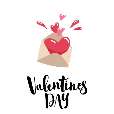 Cute cartoon envelope with a juicy red heart inside. Valentine day lettering. Vector template suitable for greeting cards, posters, prints, greetings.
