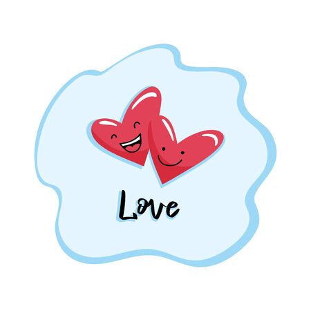 A couple of two cute cartoon hearts and a hand-written inscription Love. Vector template suitable for greeting cards, prints, greetings.