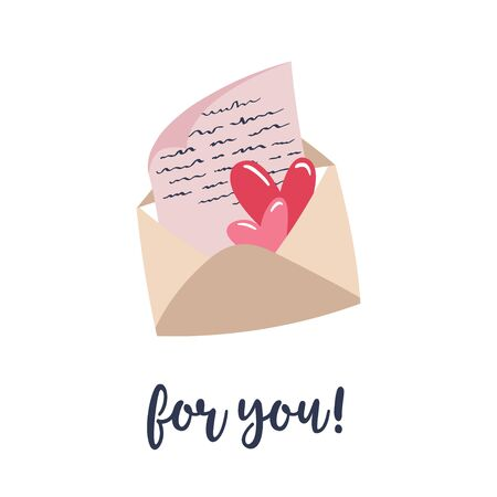 Sheet of paper and hearts inside an envelope. Handwritten inscription For you. Vector illustration with letter for valentines day greeting card. Ilustrace