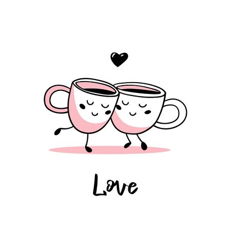 A couple of cute cartoon cups of coffee. Vector illustration.