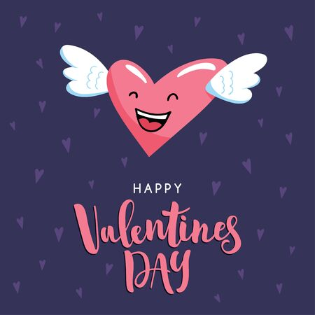 Cute cartoon winged heart and hand written inscription Happy Valentine's Day. Holiday vector illustration with character and lettering. Ilustrace