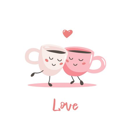 A couple of cute cartoon cups of coffee. Vector illustration for valentines day greeting card.